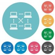 Content delivery network flat white icons on round color backgrounds - Content delivery network flat round icons