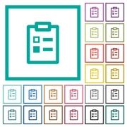 Survey flat color icons with quadrant frames on white background - Survey flat color icons with quadrant frames