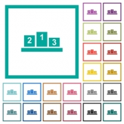 Winners podium with inside numbers flat color icons with quadrant frames on white background - Winners podium with inside numbers flat color icons with quadrant frames