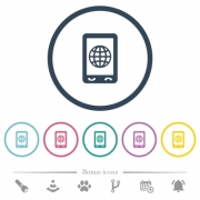 Mobile internet flat color icons in round outlines. 6 bonus icons included. - Mobile internet flat color icons in round outlines