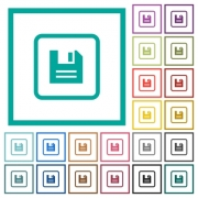 Save object flat color icons with quadrant frames on white background - Save object flat color icons with quadrant frames