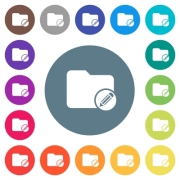 Edit directory flat white icons on round color backgrounds. 17 background color variations are included. - Edit directory flat white icons on round color backgrounds