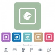 Fill object white flat icons on color rounded square backgrounds. 6 bonus icons included - Fill object flat icons on color rounded square backgrounds