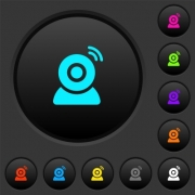 Wireless camera dark push buttons with vivid color icons on dark grey background - Wireless camera dark push buttons with color icons