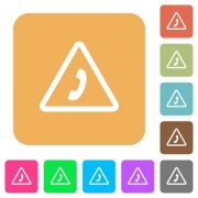 Emergency call flat icons on rounded square vivid color backgrounds. - Emergency call rounded square flat icons