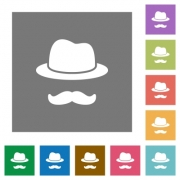 Incognito with mustache flat icons on simple color square backgrounds - Incognito with mustache square flat icons