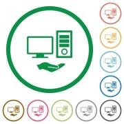 Shared computer flat color icons in round outlines on white background - Shared computer flat icons with outlines