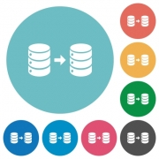 Database mirroring flat white icons on round color backgrounds - Database mirroring flat round icons