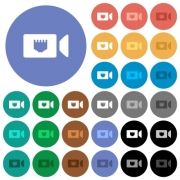 IP camera multi colored flat icons on round backgrounds. Included white, light and dark icon variations for hover and active status effects, and bonus shades. - IP camera round flat multi colored icons