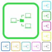 Network file system vivid colored flat icons in curved borders on white background - Network file system vivid colored flat icons