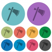 Single tomahawk darker flat icons on color round background - Single tomahawk color darker flat icons