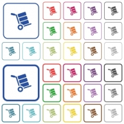 Hand truck with boxes color flat icons in rounded square frames. Thin and thick versions included. - Hand truck with boxes outlined flat color icons