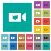 IP camera multi colored flat icons on plain square backgrounds. Included white and darker icon variations for hover or active effects. - IP camera square flat multi colored icons