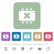 Hardware failure white flat icons on color rounded square backgrounds. 6 bonus icons included