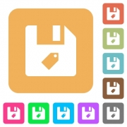 Tag file flat icons on rounded square vivid color backgrounds. - Tag file rounded square flat icons - Large thumbnail