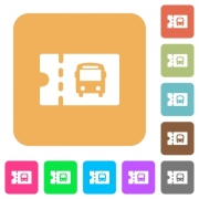 Public transport discount coupon flat icons on rounded square vivid color backgrounds. - Public transport discount coupon rounded square flat icons - Large thumbnail