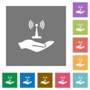 Sharing wireless network flat icons on simple color square backgrounds - Sharing wireless network square flat icons