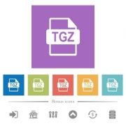 TGZ file format flat white icons in square backgrounds. 6 bonus icons included. - TGZ file format flat white icons in square backgrounds - Large thumbnail