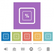 Scale object by percent flat white icons in square backgrounds. 6 bonus icons included. - Scale object by percent flat white icons in square backgrounds - Large thumbnail