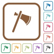 Single tomahawk simple icons in color rounded square frames on white background - Single tomahawk simple icons
