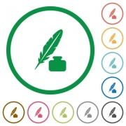 Feather and ink bottle flat color icons in round outlines on white background - Feather and ink bottle flat icons with outlines