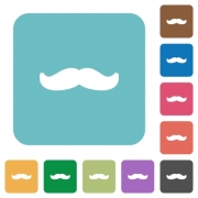 Mustache white flat icons on color rounded square backgrounds - Mustache rounded square flat icons