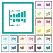 Network statistics flat color icons with quadrant frames on white background - Network statistics flat color icons with quadrant frames