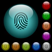 Fingerprint icons in color illuminated spherical glass buttons on black background. Can be used to black or dark templates - Fingerprint icons in color illuminated glass buttons
