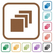 Multiple canvases simple icons in color rounded square frames on white background - Multiple canvases simple icons