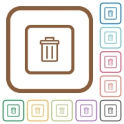 Delete object simple icons in color rounded square frames on white background - Delete object simple icons