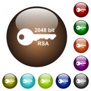 2048 bit rsa encryption white icons on round color glass buttons - 2048 bit rsa encryption color glass buttons