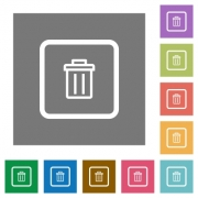 Delete object flat icons on simple color square backgrounds - Delete object square flat icons