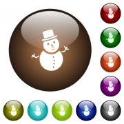 Snowman white icons on round color glass buttons - Snowman color glass buttons