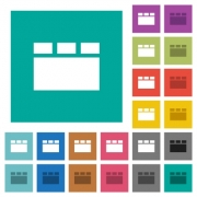 Horizontal tabbed layout multi colored flat icons on plain square backgrounds. Included white and darker icon variations for hover or active effects. - Horizontal tabbed layout square flat multi colored icons
