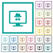 Monitor with incognito symbol flat color icons with quadrant frames on white background - Monitor with incognito symbol flat color icons with quadrant frames