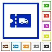 Transport discount coupon flat color icons in square frames on white background