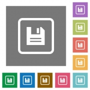 Save object flat icons on simple color square backgrounds - Save object square flat icons