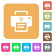 Wireless printer flat icons on rounded square vivid color backgrounds. - Wireless printer rounded square flat icons