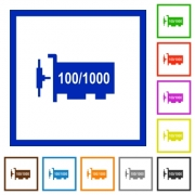 Gigabit ethernet network controller flat color icons in square frames on white background - Gigabit ethernet network controller flat framed icons