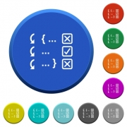 Debugging program round color beveled buttons with smooth surfaces and flat white icons - Debugging program beveled buttons