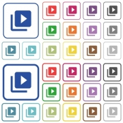Video library color flat icons in rounded square frames. Thin and thick versions included. - Video library outlined flat color icons