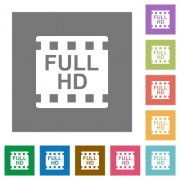 Full HD movie format flat icons on simple color square backgrounds