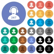 24 hours operator service multi colored flat icons on round backgrounds. Included white, light and dark icon variations for hover and active status effects, and bonus shades. - 24 hours operator service round flat multi colored icons