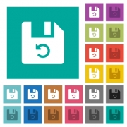 Undo last file operation multi colored flat icons on plain square backgrounds. Included white and darker icon variations for hover or active effects. - Undo last file operation square flat multi colored icons