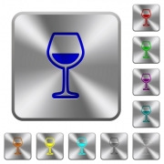 Glass of wine engraved icons on rounded square glossy steel buttons - Glass of wine rounded square steel buttons