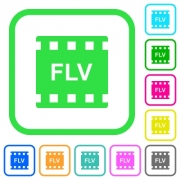 FLV movie format vivid colored flat icons in curved borders on white background - FLV movie format vivid colored flat icons