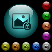 Lock image icons in color illuminated spherical glass buttons on black background. Can be used to black or dark templates - Lock image icons in color illuminated glass buttons