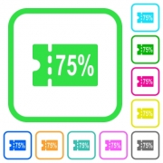 75 percent discount coupon vivid colored flat icons in curved borders on white background - 75 percent discount coupon vivid colored flat icons