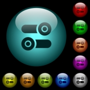 Toggle switches icons in color illuminated spherical glass buttons on black background. Can be used to black or dark templates - Toggle switches icons in color illuminated glass buttons