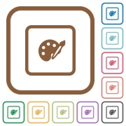 Adjust object color simple icons in color rounded square frames on white background - Adjust object color simple icons